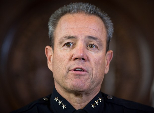 Mayor Eric Garcetti selects LAPD veteran Michel Moore as Los Angeles' new police chief on Monday, June 4, 2018 at LA City Hall. (Photo by Sarah Reingewirtz, Pasadena Star-News/SCNG)