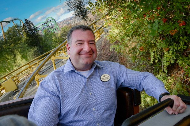 Neal Thurman, Six Flags Magic Mountain's president, rides the Gold Rusher. ( Photo by David Crane, Los Angeles Daily News/SCNG)