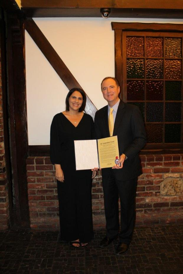 U.S. Rep Adam Schiff honored Nicole Saba, CSUF Class of '98, this spring as the 28th Congressional District Woman of the Year for 2018. Photo courtesy Nicole Saba.