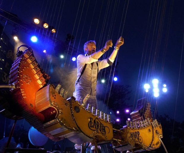 William Close performs on his Earth Harp. The inventor will bring his instrument to NAMM'S Museum of Making Music in Carlsbad for Make Music Day June 21. (Photo courtesy of William Close and the Earth Harp Collective).