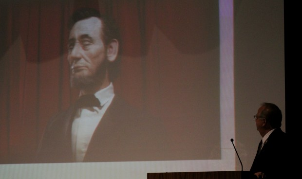 Redlands Mayor Paul Foster presents a video on a Garner Holt exhibit at the Lincoln Shrine. The presentation was part of the annual State of the City address on Friday, June 22, 2018. (Jennifer Iyer, Redlands Daily Facts/SCNG)