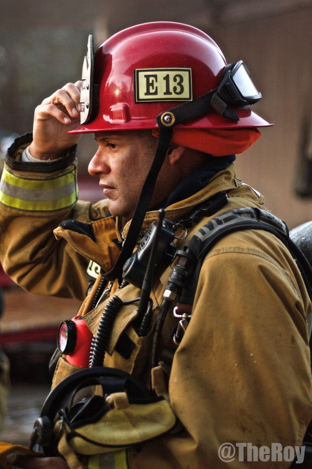 A firefighter wears a helmet manufactured by Phenix Technology of Riverside. (Photo courtesy of Phenix Technology)