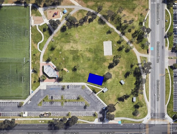 In this map/aerial view of Moreno Valley Community Park, the location of the planned skate park is indicated in blue. (Courtesy of city of Moreno Valley)