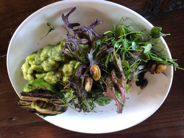 Charred avocado salad is a tasty brunch option at Manhattan House in Manhattan Beach.