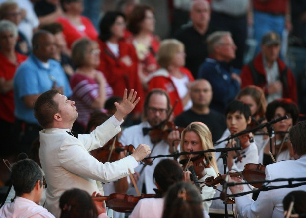 Tomasz Golka leads the Riverside County Philharmonic during the Concert for Heroes at Riverside National Cemetery. (File photo)