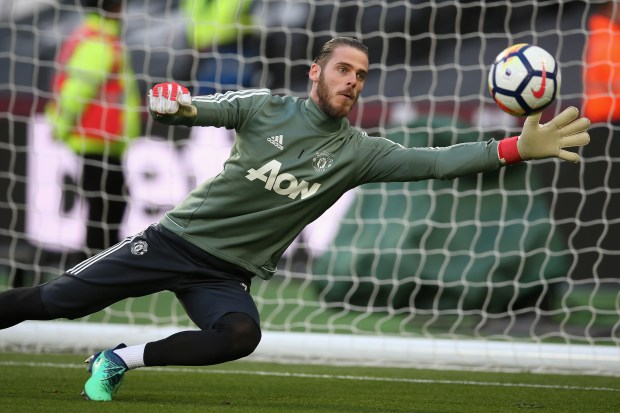 David De Gea of Manchester United warms up prior to the Premier League match between West Ham United and Manchester United at London Stadium on May 10, 2018 in London, England. (Photo by Steve Bardens/Getty Images)