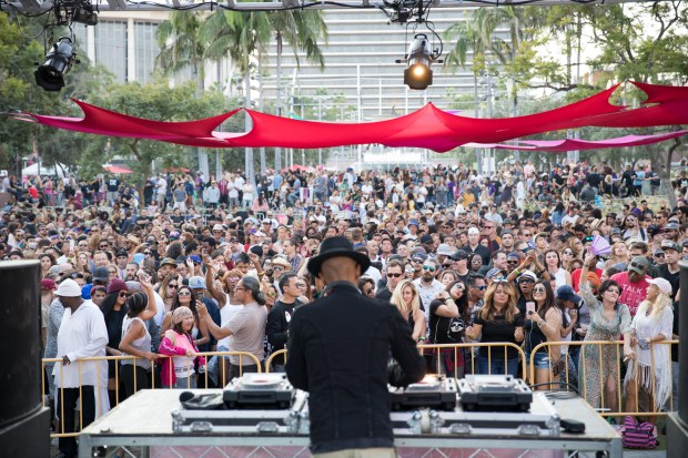 A deejay entertains the crowd at Grand Park in Los Angeles. (Photo by Javier Guillen for Grand Park/Music Center).