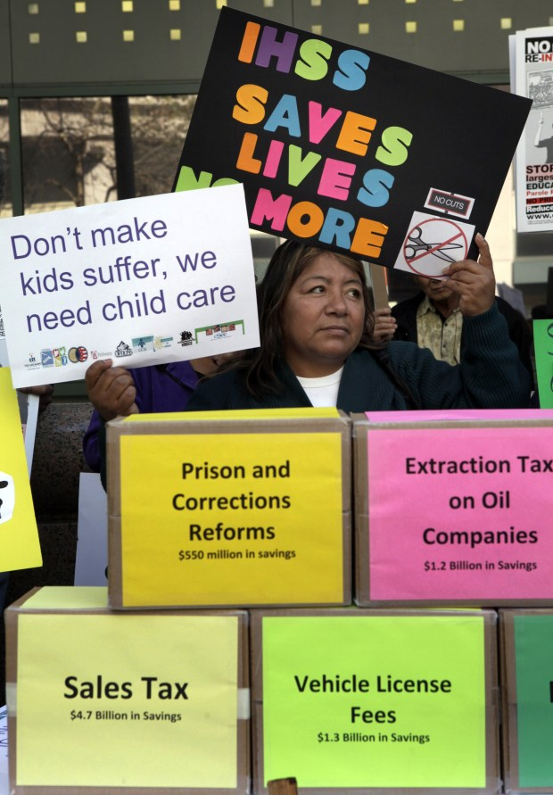 Thelma Gutierrez joined hundreds of IHSS workers in a 2011, Los Angeles protest against Gov. Jerry Brown's proposed cuts to the homecare workers program. (AP Photo/Nick Ut)