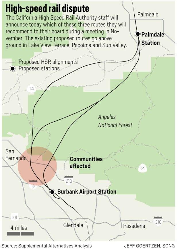 Bullet train route through Sylmar and Pacoima has 'best ... on map go california, map la california, map cisco california, map california california,