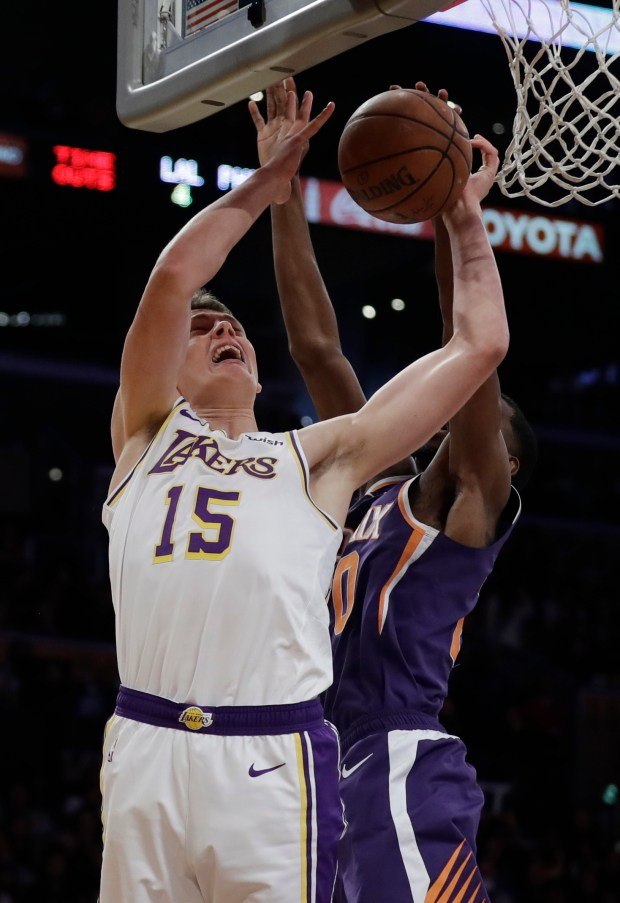c9fcccf1221f The Lakers  Moritz Wagner drives to the basket against the Phoenix Suns  during the second half of an NBA game Sunday