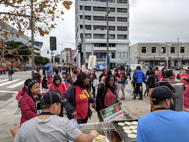 Near Koreatown, LAUSD teachers strike brings a street festival with live music, street vendors, and Socialist-funded tacos — oh, and picketing, too