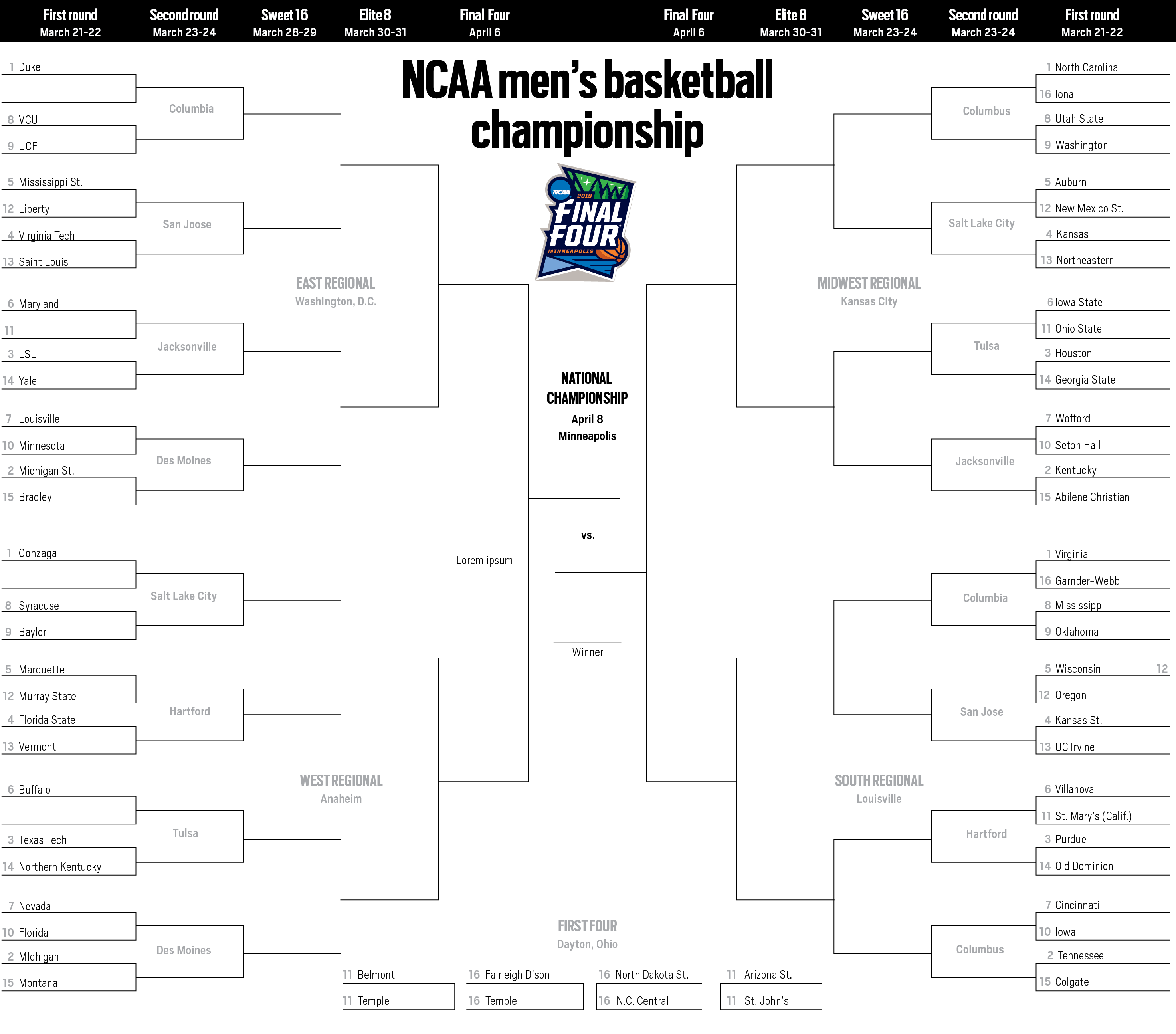 photo about Printable Big Ten Tournament Bracket identified as March Insanity 2019: Printable NCAA Match bracket
