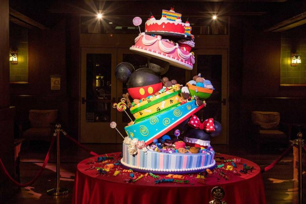 The Four Foot Tall Birthday Cake On Display At Disneys Grand Californian Features 730 Pounds Of Ingredients Courtesy Disney