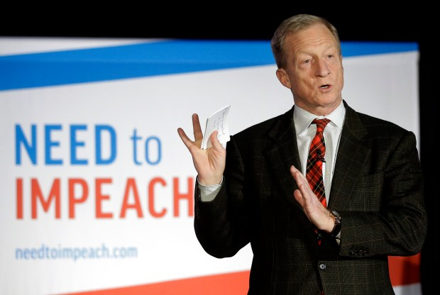 "On March 13, 2019, billionaire investor and Democratic activist Tom Steyer speaks during a ""Need to Impeach"" town hall event in Agawam, Mass. Steyer claims that President Donald Trump meets the criteria for impeachment. (AP Photo/Steven Senne, File)"
