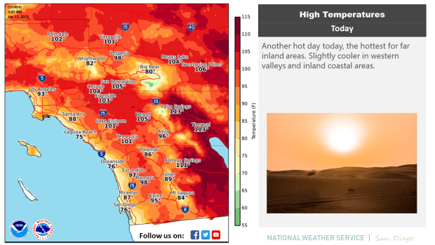 Triple-digit heat is expected Tuesday, June 11, 2019, throughout Riverside and San Bernardino counties.