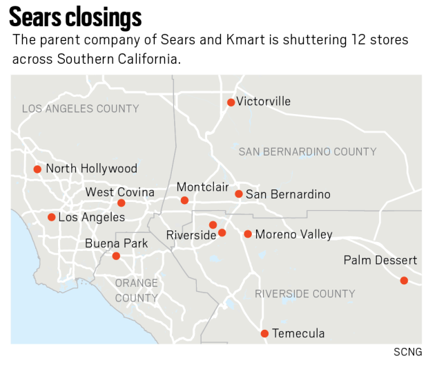 A last Christmas for 12 Sears stores in Southern California ...