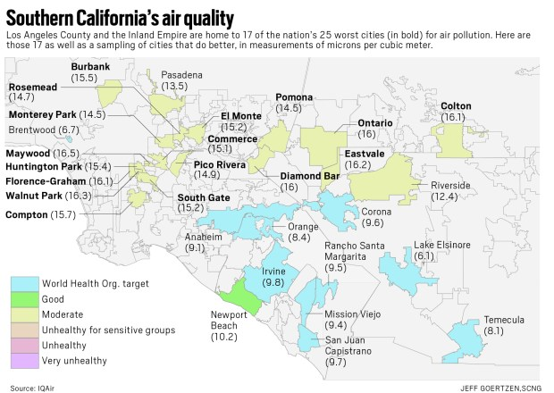 Metro L.A. hosts nation's worst cities for air quality, study finds