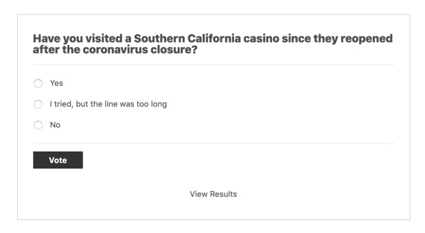 Poll about visiting casinos