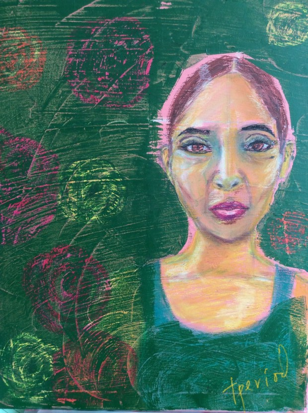 drawing of Black woman against a green floral background