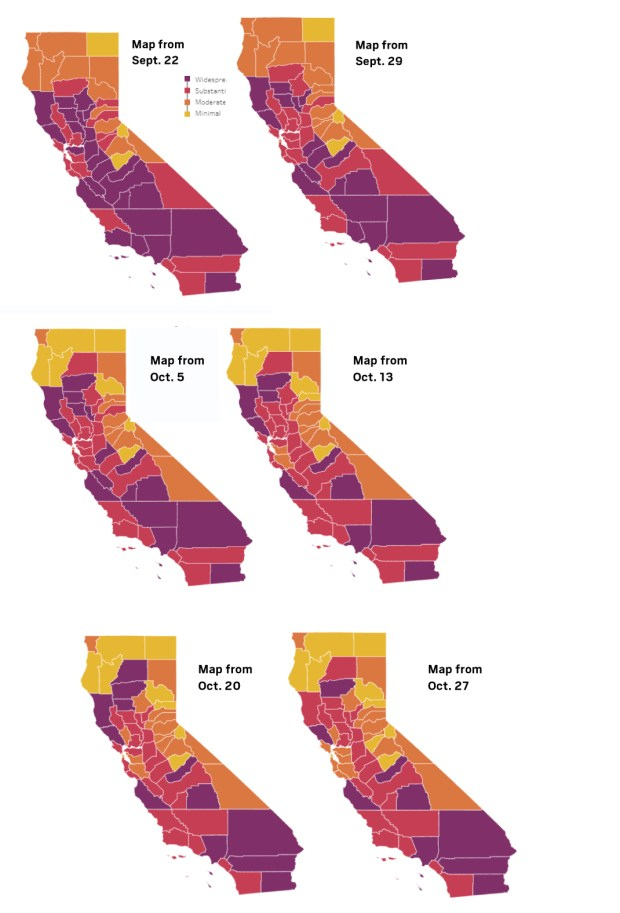 Coronavirus: Here's which tier each California county is in as of Oct. 27