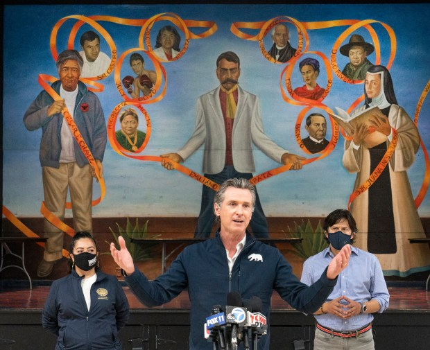 Newsom touts new Southern California vaccine pop-ups as counties transition to Blue Shield network