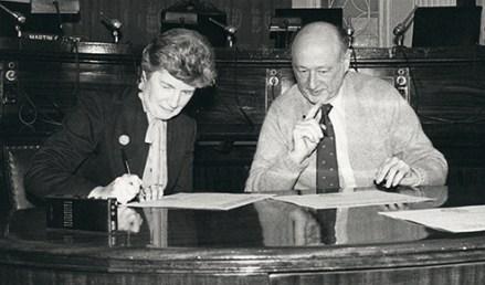Sister Margaret, then CEO at St. Vincent Hospital, with Mayor Ed Koch