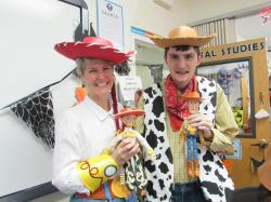 Student and Teacher dressed as Woody and Jessie from Toy Story