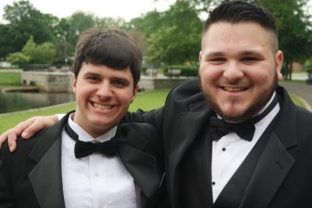 Two young men in tuxes
