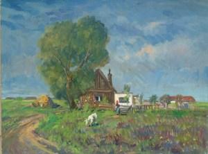 Artist: Gera Gyula Hungarian Title: The Farm House Size: 23.5 x 31.5 Framed: No Medium: Oil on Canvas