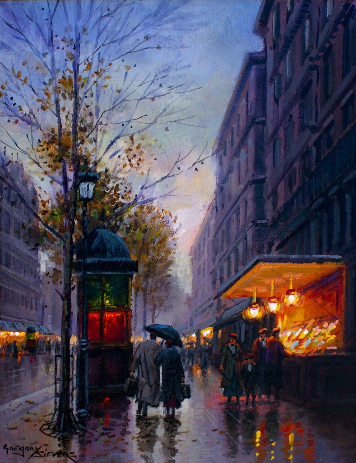 Artist: Gregory Sievers Title: Arrival in Paris Size: 14in x 18in Framed: Yes Medium: Oil on Canvas