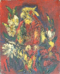 Artist: Henry D\'anti Title: Parrot In Bloom Size: 8.5in x 10.5in Framed: No