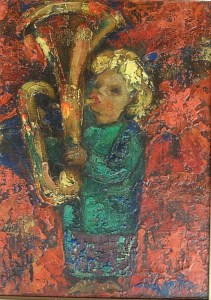 Artist: Henry D\'anti Title: The Trumpeter Size: 14in x 10.5in Framed: No