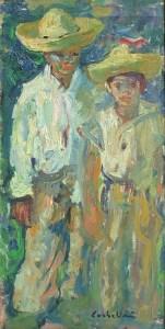 Artist: Luigi Corbellini Title: Boys with Sombreros Size: 15in x 7.5in Framed: No