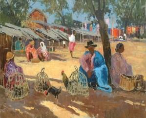 Artist: Maurice Martin Title: Market in Madagascar Size: 25.5 x 31.5