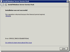 Installing Windows 2008R2 Service Pack 1 Ends with