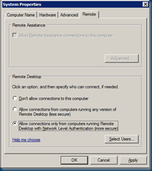 Network Level Authentication (NLA) is disabled