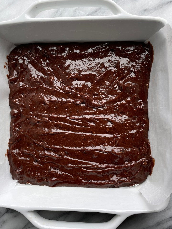 bake the espresso brownies in a lined baking dish.