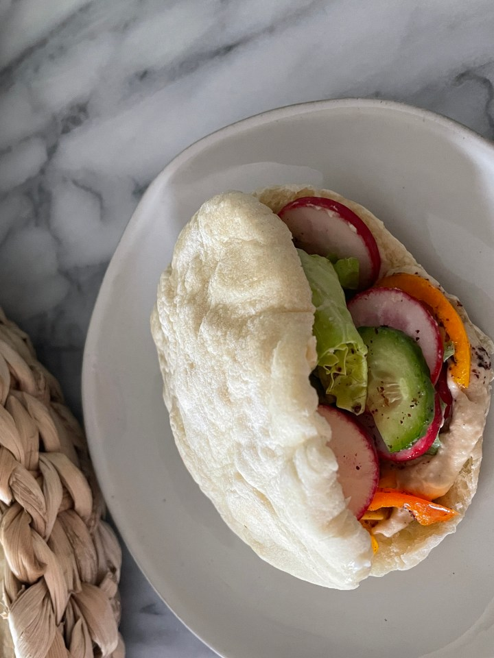 pita bread is great to fill with vegetables and hummus