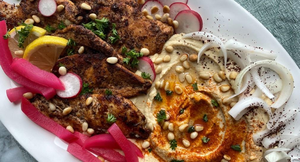 Mediteranean feast of sumac chicken and hummus