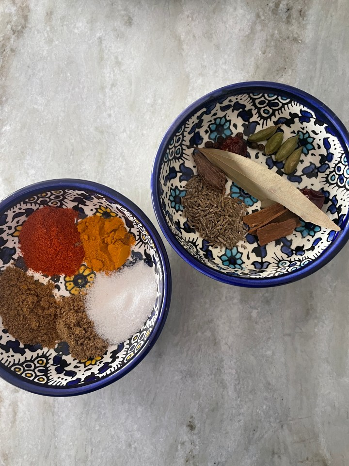 all the whole and ground spices you need to make chicken biryani