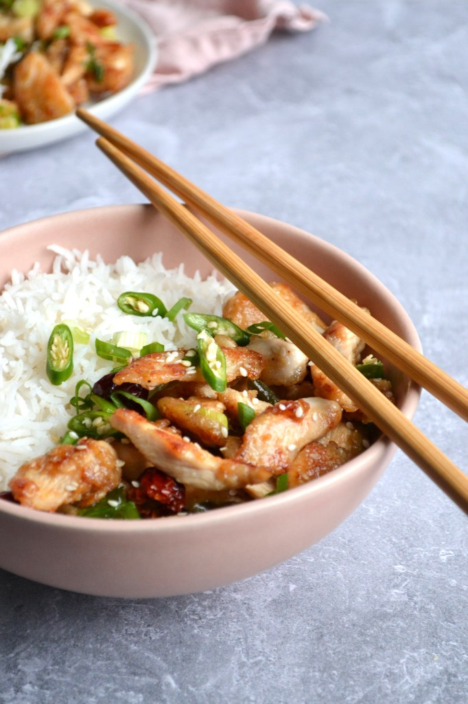 Chicken Chili Dry served with steamed rice