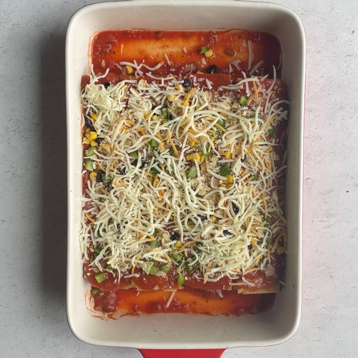 leave some space for the oven ready noodles to expand