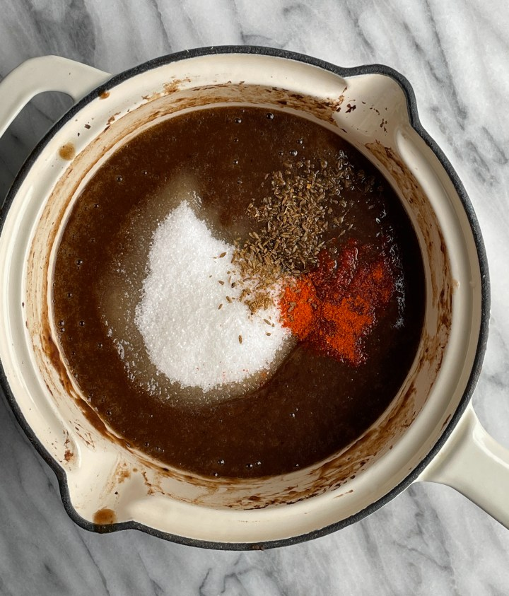 tamarind chutney with sugar, salt, laal mirch and cumin