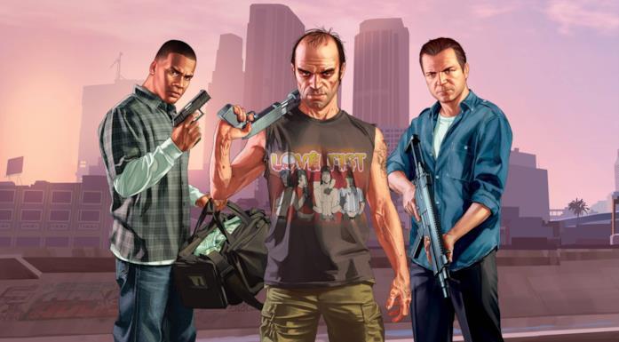 Michael, Trevor e Franklin con alcune armi
