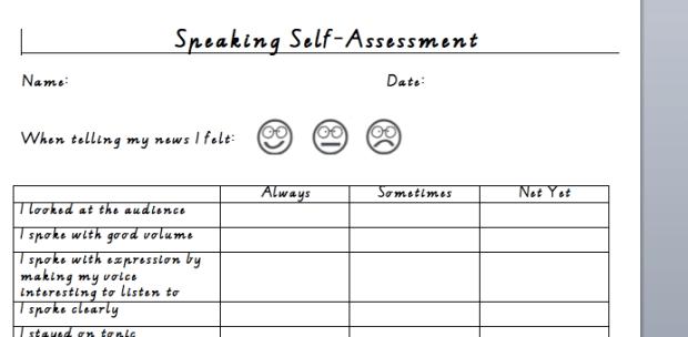 Template for Students SelfAssessment of Speaking Skills