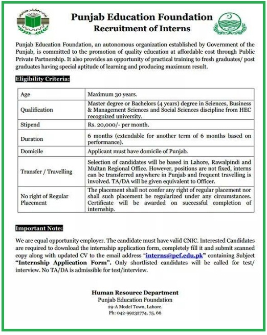 Punjab Education Foundation Internship 2021 Program PEF