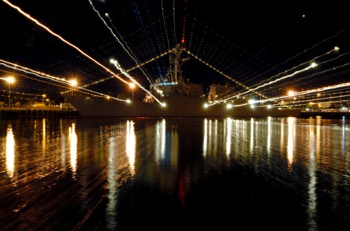The destroyer Russell decorated with holiday lights