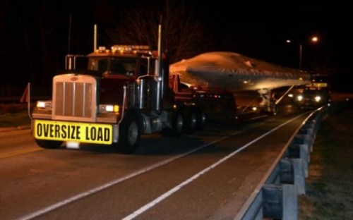 An X-47B arrives at Naval Air Station Patuxent River, Md.