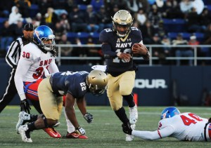 Navy quarterback Keenan Reynolds is leading the fan vote for the Heisman trophy after breaking the NCAA record for career rushing touchdowns during the Nov. 14 win over Southern Methodist University.