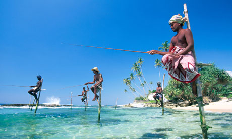 Sea fisherman on a Sri Lankan beach. Photograph: Alamy